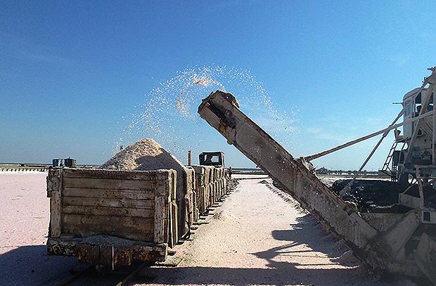 Солеуборочный комбайн загружает соль в вагонетку. Крым, Саки