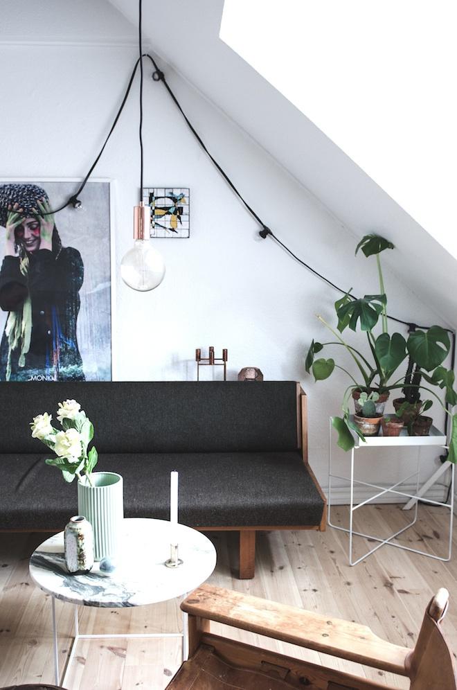 detalle del salón con plantas y sofá en negro