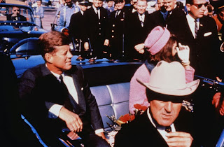 Presidential motorcade - JFK and his wife riding with Texas Governor John Connally  Dallas, Texas November 22, 1963