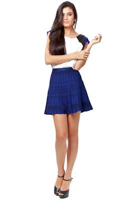 saia azul blue skirt linda moda tendencia elegante moderna fashion barata atual descolada feminina mulher falda gonna blu jupe bleue curta xadrez escura escuro prega