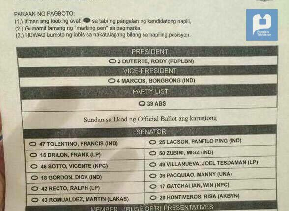 INC sample ballot