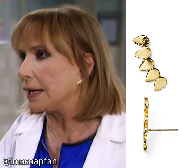 Monica Quartermaine, Leslie Charleson, Gold Teardrop Ear Climbers, Earrings, Baublebar, GH, General Hospital
