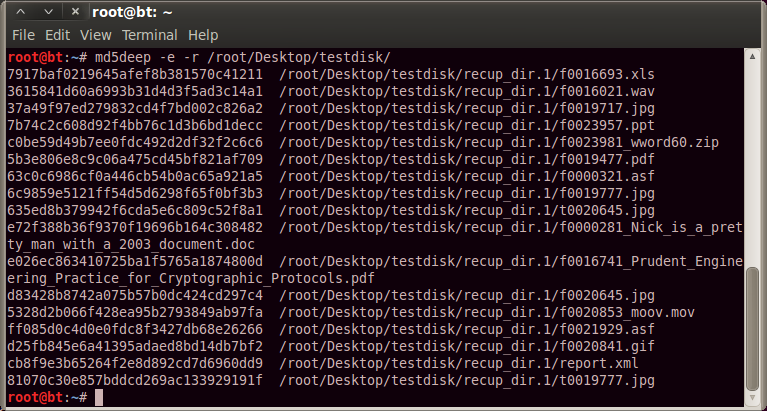 The Evil Bit Blog: Backtrack Forensics: File recovery with