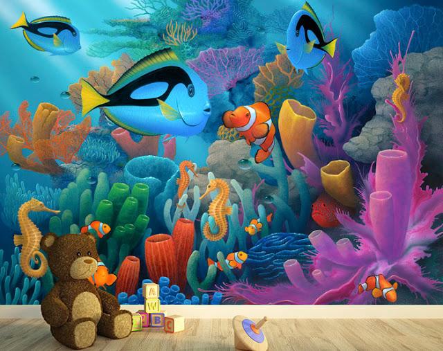 Tapetti Lastenhuoneeseen 3D Lasten Tapetti Akvaario Kala