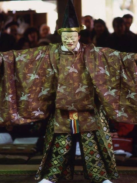 Dengaku-Nohmai (traditional masked dance-drama) at Ukan Shrine, Ikeda Town, Fukui Pref.