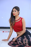 Telugu Actress Nishi Ganda Stills in Red Blouse and Black Skirt at Tik Tak Telugu Movie Audio Launch .COM 0155.JPG
