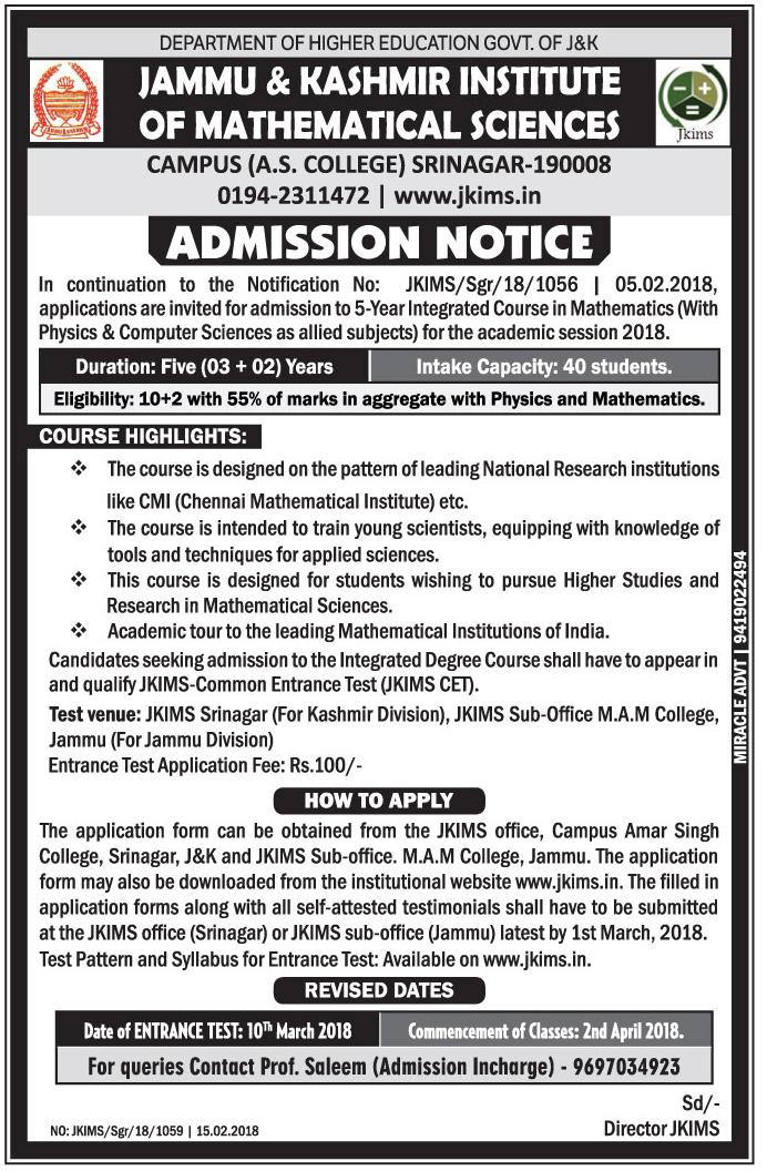 J&K Institute of Mathematical Sciences Admissions 2018