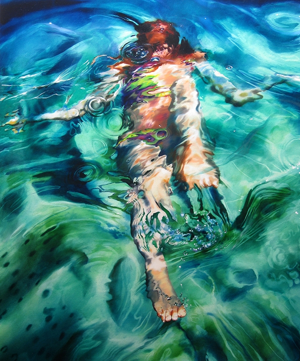 03-Sarah-Harvey-Self-Portraits-of-Realistic-Underwater-Paintings-www-designstack-co