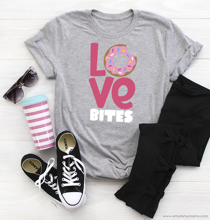"""Love Bites"" Shirt with Free Valentine's Day Cut Files"