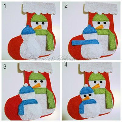 paso a paso vemos como se hace el muñeco peque de nieve