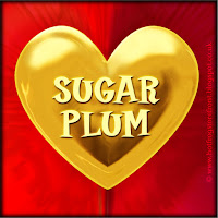 Sugar Plum text on gold heart free image for texting