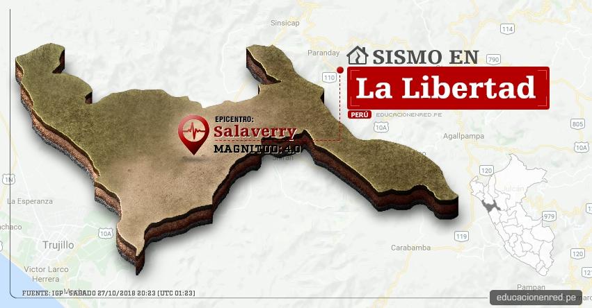 Temblor en La Libertad de magnitud 4.0 (Hoy Sábado 27 Octubre 2018) Sismo EPICENTRO Salaverry - Trujillo - IGP - www.igp.gob.pe