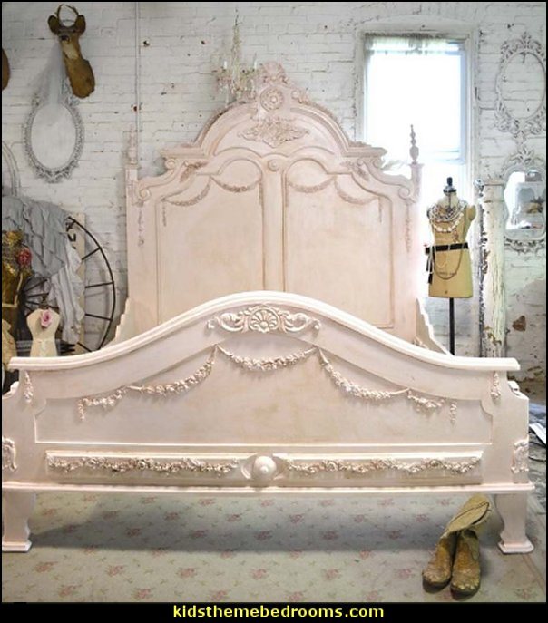 French Bed Painted Cottage Shabby Chic French Romantic  Victorian Decorating ideas - Victorian bedroom ideas - Vintage decorating - Victorian Boudoir - Romantic Victorian Bedroom Decor - lace and ruffles bedding - floral bedding - Vintage decor - vintage themed bedroom for a girl - modern victorian bedroom ideas - Victorian bedroom furniture - victorian home decor -