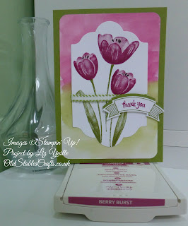 Hand Stamped Card using Tranquil Tulips Hostess Stamp Set from Stampin Up