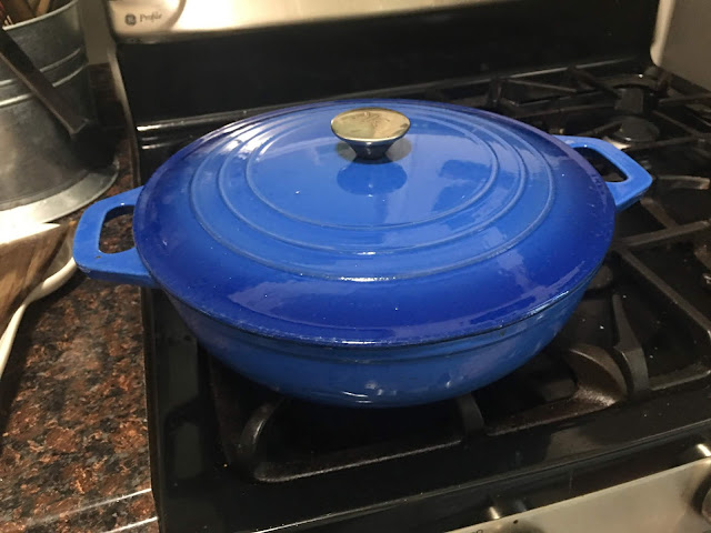 The pan on the stove with the lid on it.