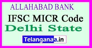 ALLAHABAD BANK IFSC MICR Code Delhi