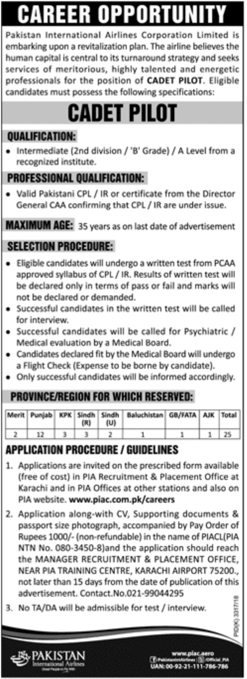 Jobs In PIA Pakistan International Airlines 2018 for Cadet Pilot