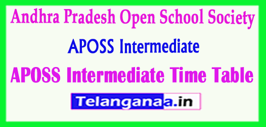 APOSS Intermediate Time Table  Andhra Pradesh Open School Society  Time Table