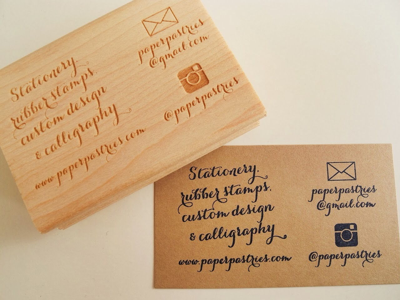Paper pastries shop update new business card rubber stamp for New business cards