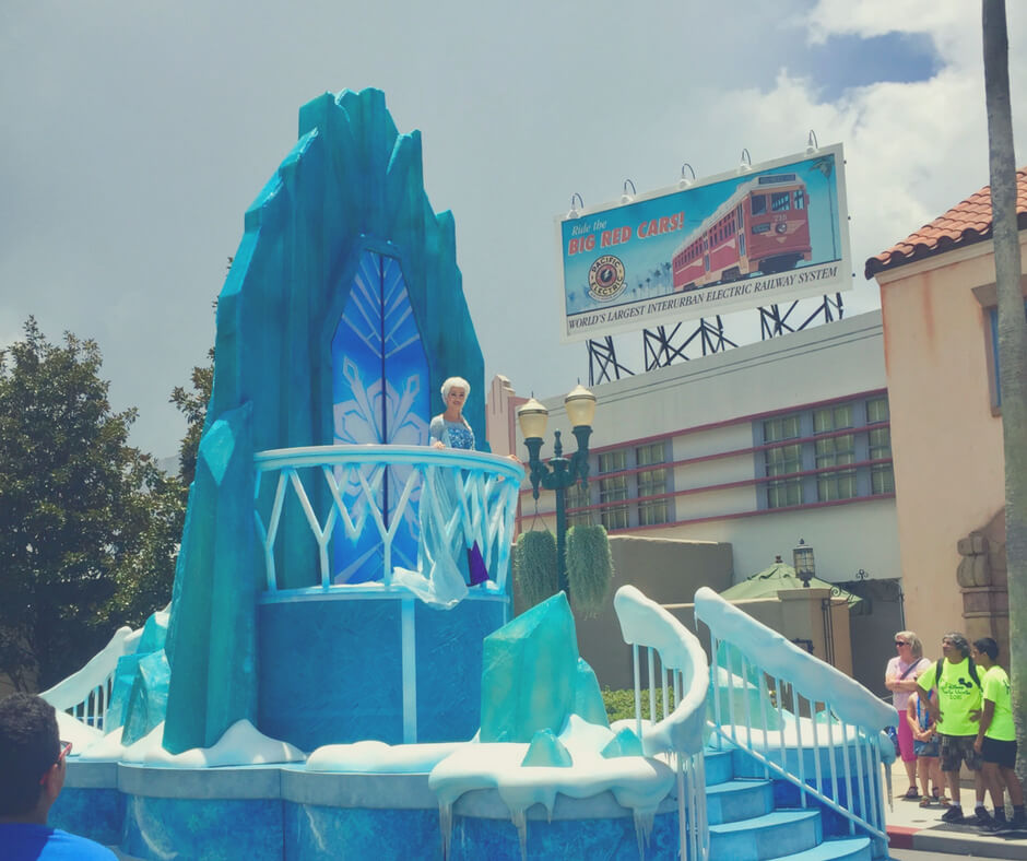 Elsa in Frozen parade at Hollywood Studios in Walt Disney World.
