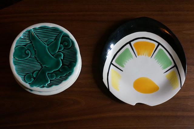 assiettes hirondelle Verceram plateau années 50  50s plates 1950s mid century tray