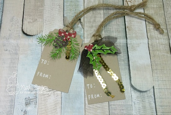 Pine and Holly Tags by Naki Rager | Pines & Holly Die set by Newton's Nook Designs #newtonsnook