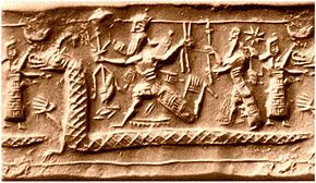 Neo-Assyrian cylinder seal impression from the eighth century BC.