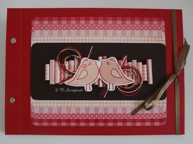 album scrapbook passarinhos romantico