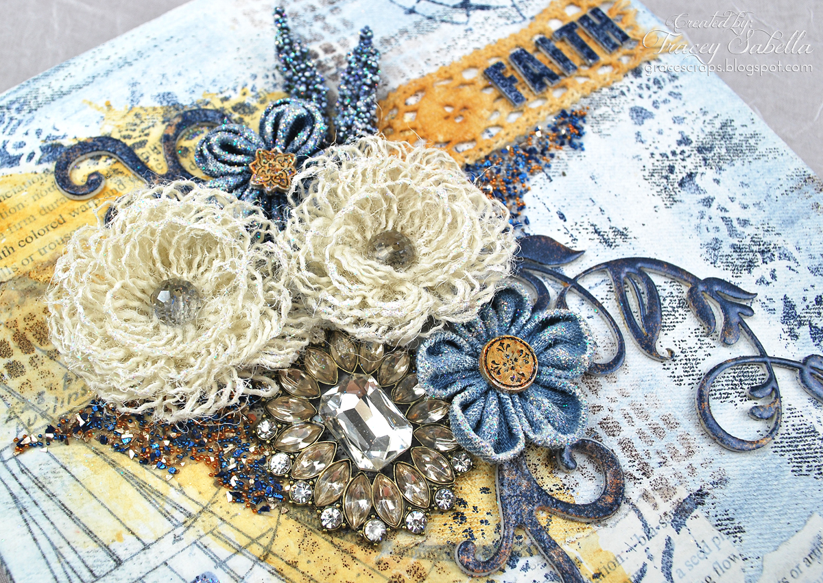 Donna salazar designs cha faith art journal with wispy for Burlap flower template