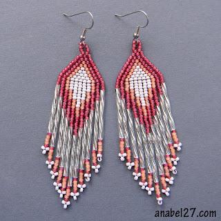 Длинные серьги из бисера бисерные сережки украшения от Anabel