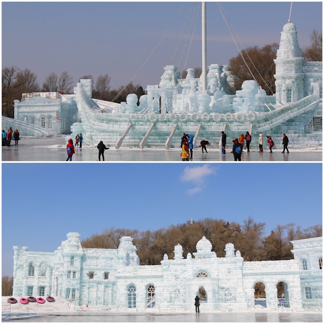 Giant ship and Palace in Ice Sculpture at Harbin Snow Sculpture Art Expo in Heilongjiang province, China