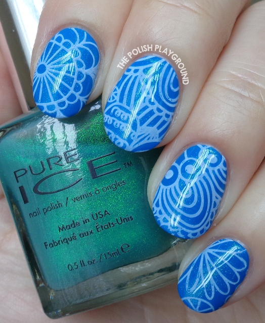 Blue Shimmer with White Abstract Stamping Nail Art