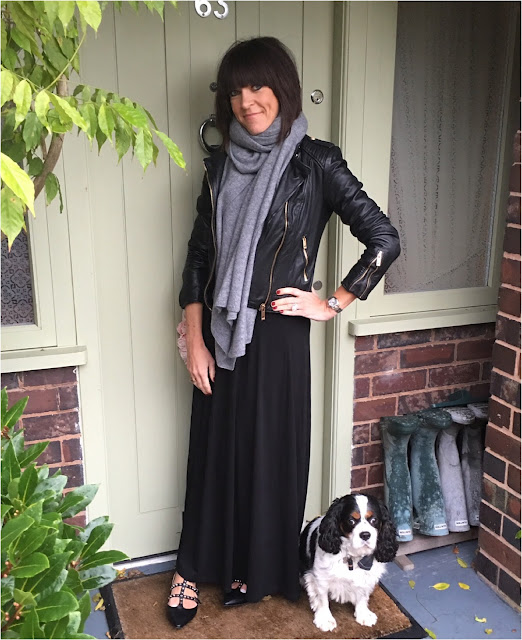 My Midlife Fashion, Zara Cashmere Scarf, Kettlewell Colours maxi skirt, Leather biker jacket, rockstud look a like shoes, studded flats