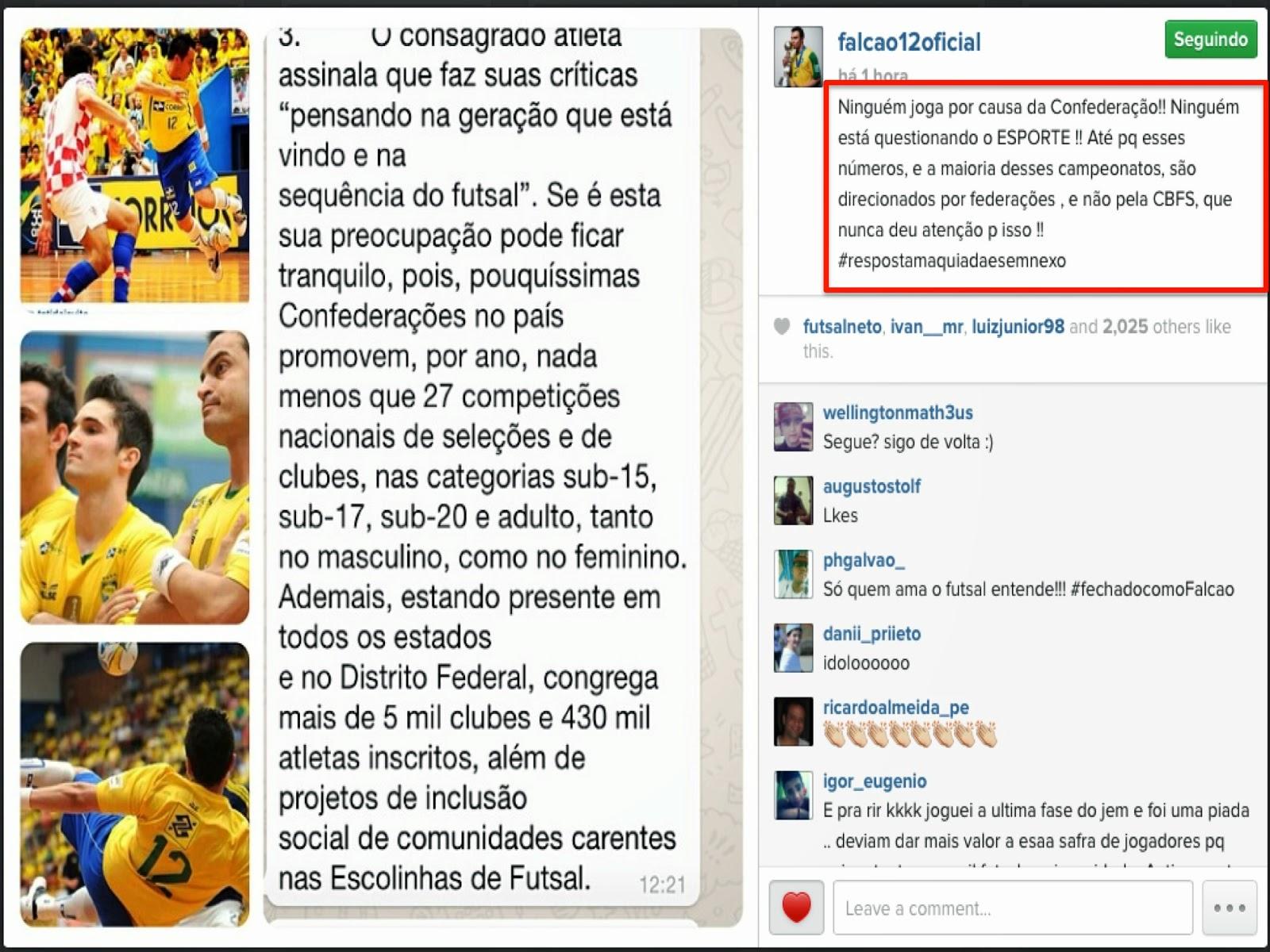 Lembrando que todos os atletas compartem das palavras e opinião expressada  por Falcão. Confiram abaixo na íntegra suas declarações e a nota emitida  pela ... b5e8d52a62a9a