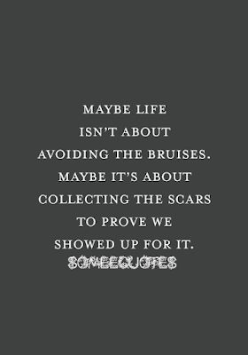 Maybe life isn't about bruises.Maybe it's about collecting the scars to prove we showed up for it.