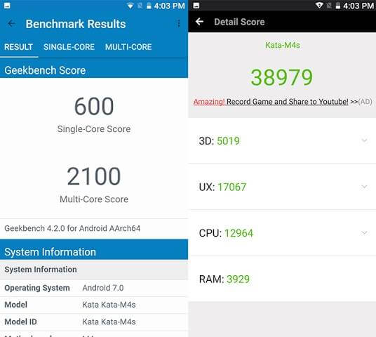 Kata M4s Geekbench and Antutu Scores
