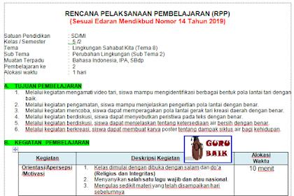 Contoh RPP Terbaru Kelas 5 SD Satu Lembar Tema 8
