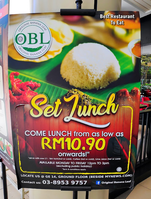 Original Banana Leaf IOI City Mall Putrajaya Set Lunch Promotion