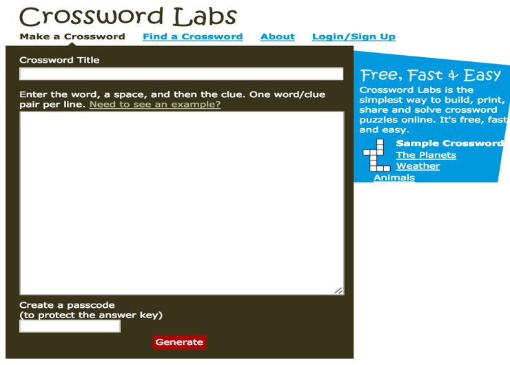 Crossword Labs Is An Excellent Web Tool That Allows You To Easily Build Print Share And Solve Puzzles Online The Process Very Simple Type