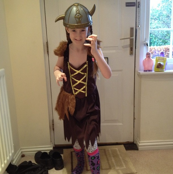 Tamsin in viking outfit