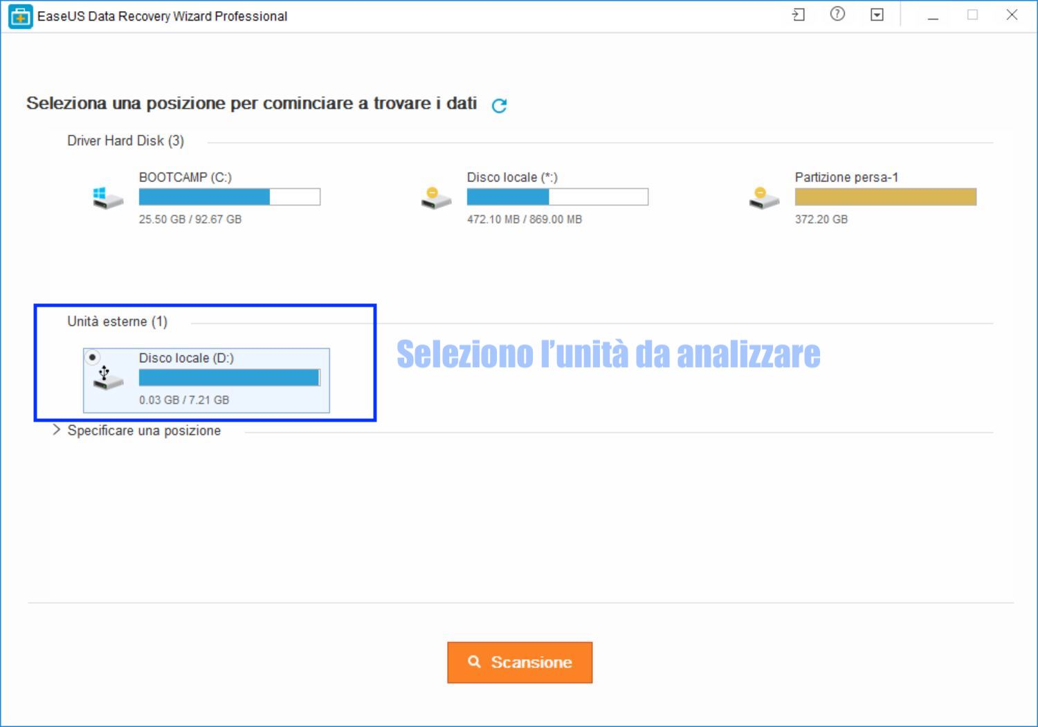 interfaccia iniziale data recovery wizard per recuperare file eliminati da pendrive usb o hard disk