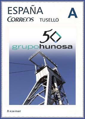 Sello personalizado del 50 aniversario de Hunosa en Gijón