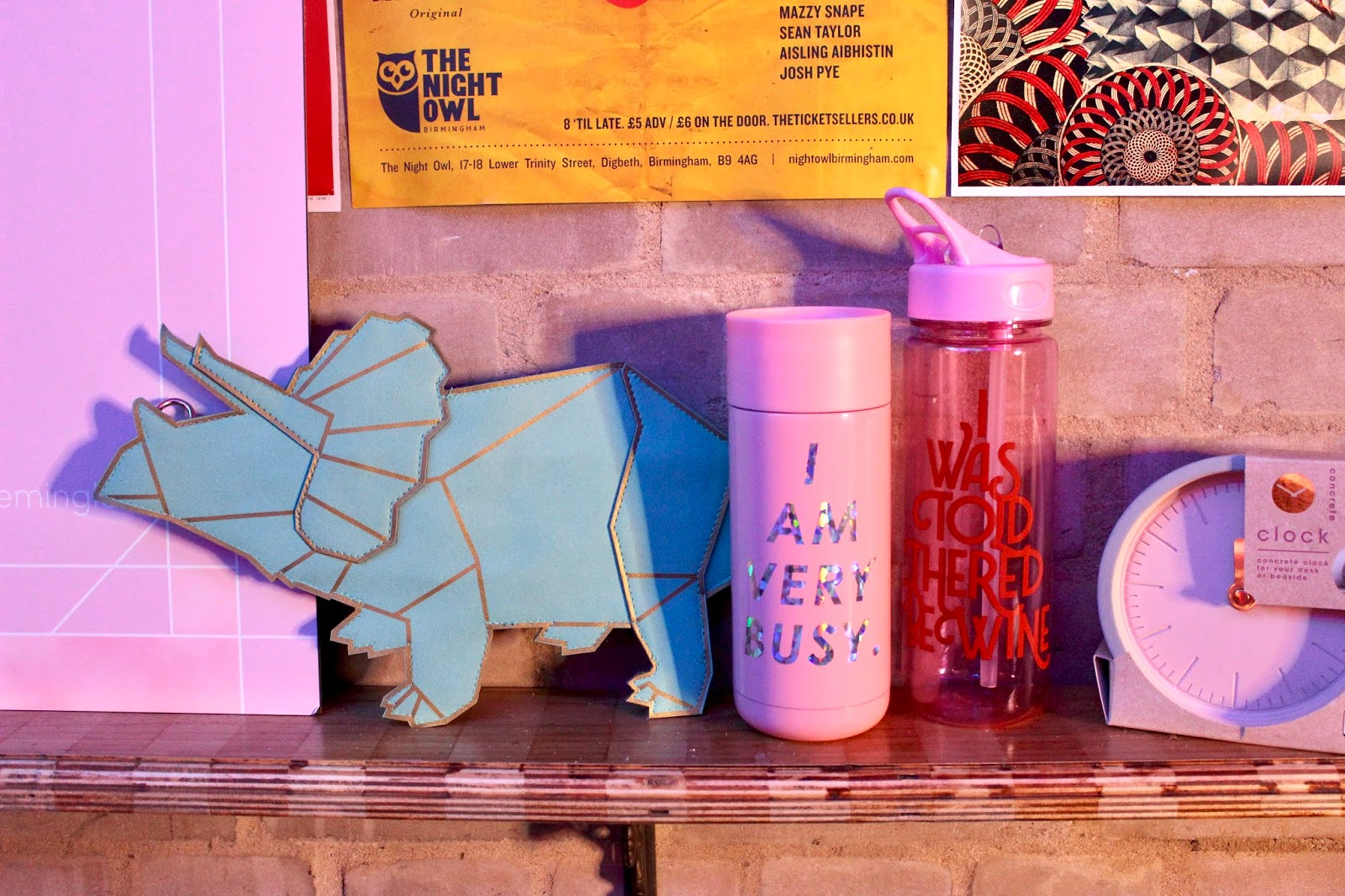 Dinosaur plaque and 'I am very busy' water bottle