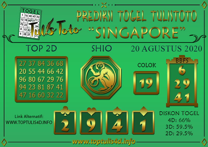 Prediksi Togel SINGAPORE TULISTOTO 20 AGUSTUS 2020