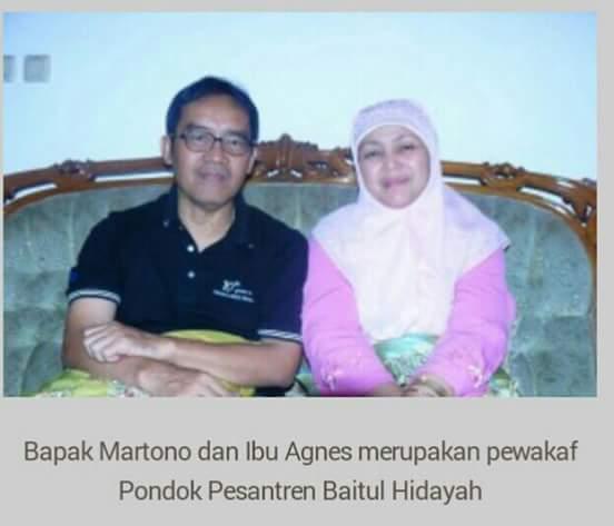 Bapak Martono dan Ibu Agnes Pewakaf Pondok Pesantren Baitul Hidayah