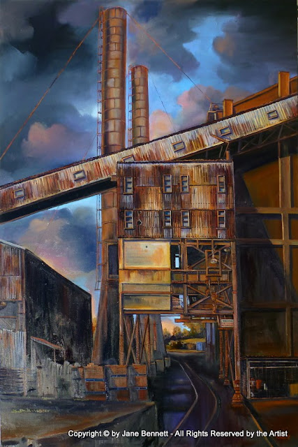 plein air oil painting of  White Bay Power Station by artist Jane Bennett