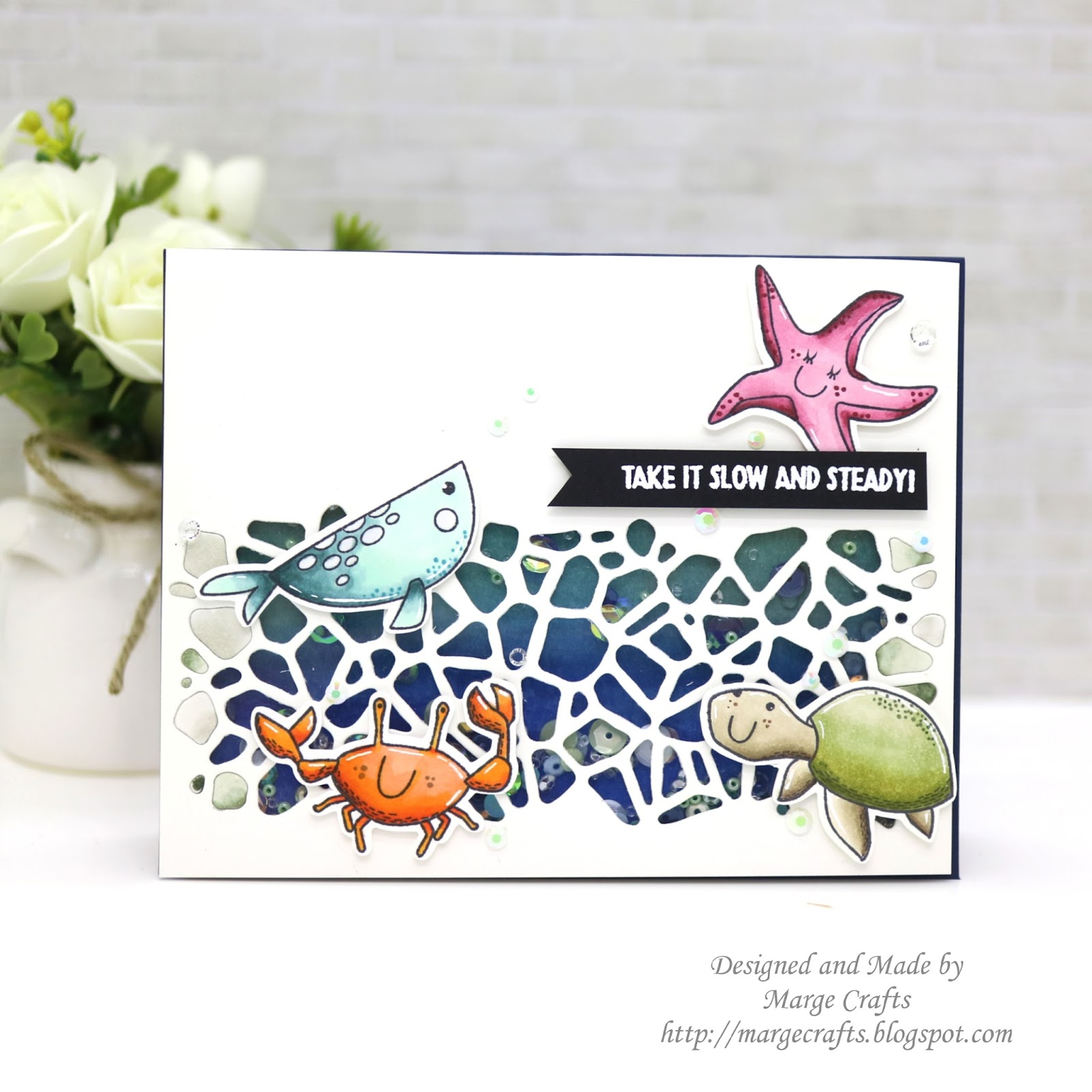 marge crafts   simon says stamp   sea animals shaker card