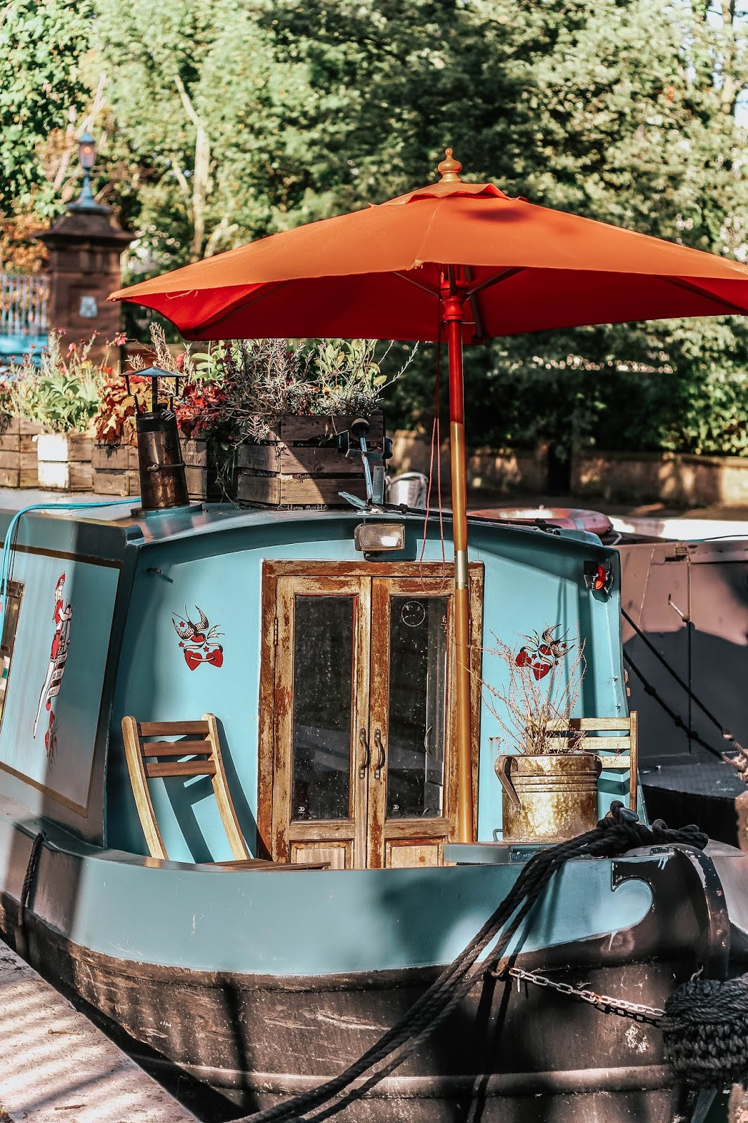 Little Venice London Canal Blue Boat and Parasol