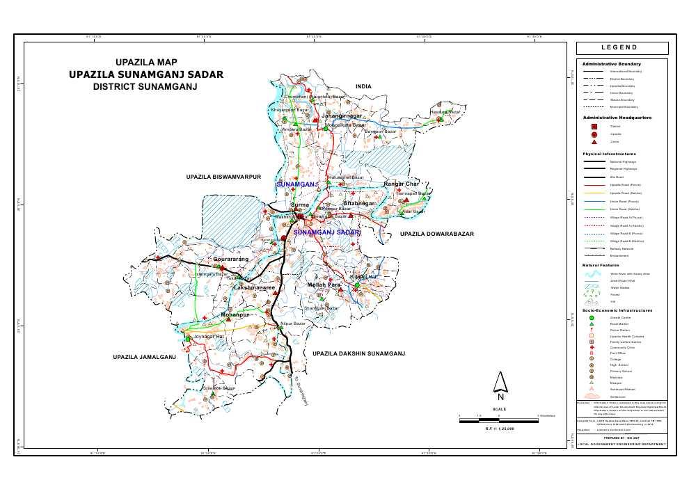 Sunamganj Sadar Upazila Map Sunamganj District Bangladesh