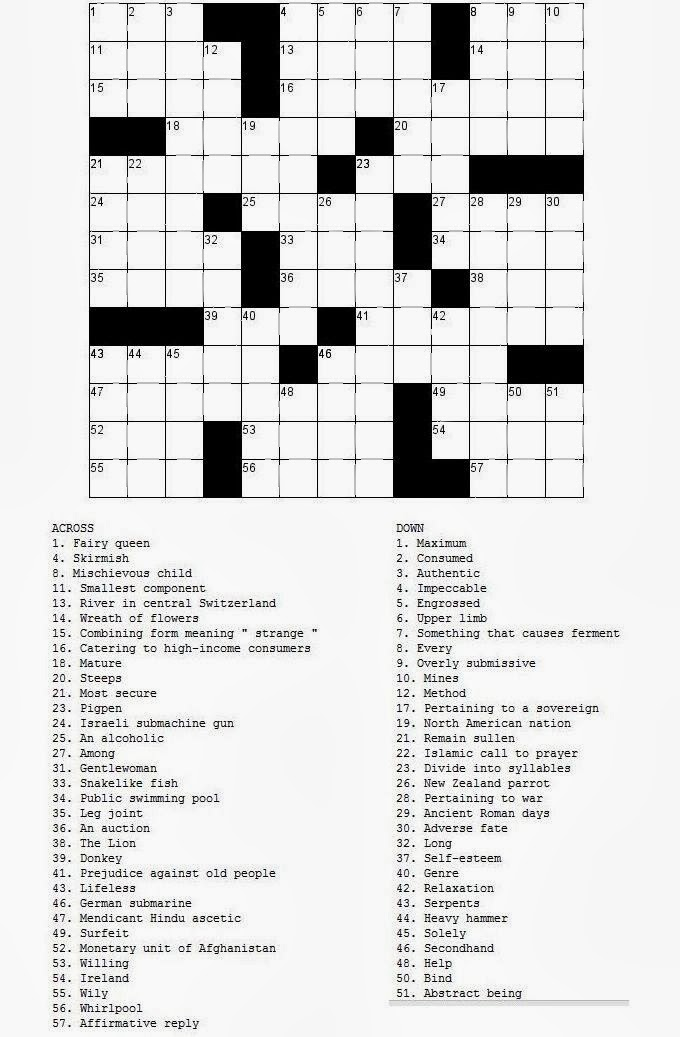 Free printable Word Search and Sudokus: Crossword 2